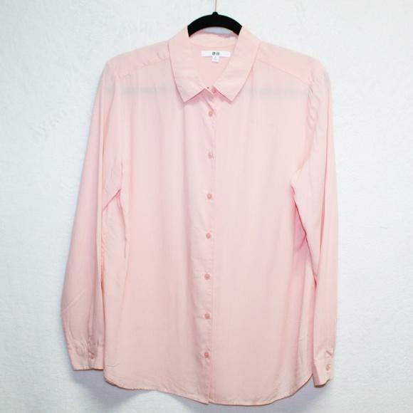 535c43b0 Uniqlo Tops   Light Pink Button Down Long Sleeve Blouse   Poshmark